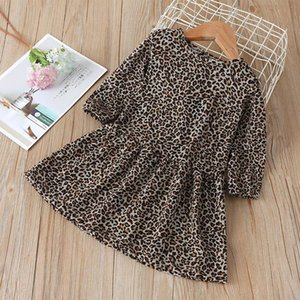 Chicas leopardo de manga larga vestidos de primavera de 2020 niños Boutique Ropa 1-6T niñas vestidos de IG caliente Venta vestido de Childern