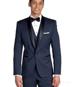 Nuovo di alta qualità un pulsante blu navy sposo smoking scialle bavero groomsmen miglior uomo abiti uomo abiti da sposa (giacca + pantaloni + vest + cravatta) 700