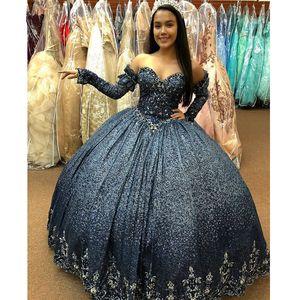 Темно-синий Sequined бальное платье Quinceanera платья Шнурок Applque Backless Сладкие 16 Pageant Debutante платье Длинные рукава платья партии