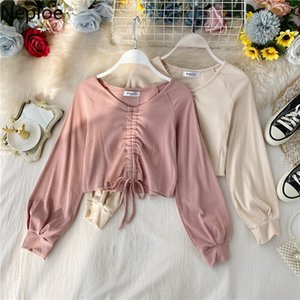 Neploe V Neck Lantern Long Sleeve Drawstring Bottom T Shirt Ins Multicolor Hollow Out Lumber Sexy Tees Slim Pleat 2020 Top 49396