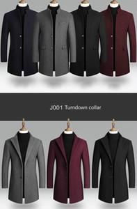 Erkekler Kış Siyah Coat Plus Size Yün Blend Coat Erkek Uzun Rüzgarlık Ceket Kalın Pamuk Sıcak Erkekler Ceket Erkek Palto 4XL