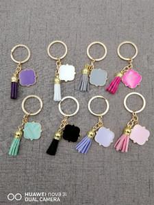 العصرية مفتاح سلسلة كيرينغ شخصية حرفية فارغة فارغة quatrefoil الشرابة المفاتيح 3 سنتيمتر quatrefoil حرف واحد من جلد الغزال شرابة keychain a110402