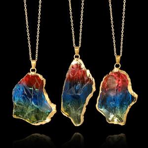 Новый природный кристалл кварц исцеление чакра ожерелье многоцветный оригинальный натуральный драгоценный камень кулон ожерелья ювелирные цепи для женщин мужчин