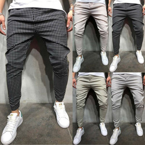 2020 mode sexy printemps taille haute poche hommes Slim Fit Plaid Straight Leg Casual Pantalons Crayon Jogger Pantalons simple
