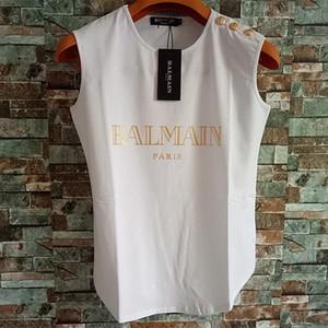 Balmain Womens Stylist T-shirt da donna Balmain stilista abbigliamento sopra brevi vestiti delle donne del manicotto Il formato S-L
