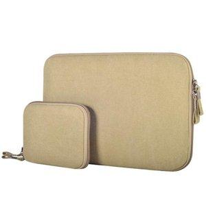 15.4 polegadas Denim Moda Zipper Roupa Waterproof Case Sleeve Bolsa para Notebook Laptop, com um saco pequeno para Mouse