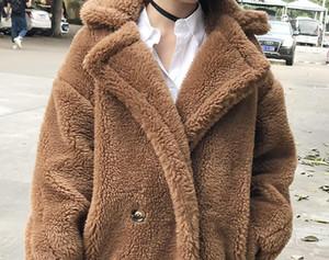 7 renkler S-XL Casual Kadın Yün teddy uzun Coat kadın 2018 Kış katı renk Gevşek Kadın thicking Yün Karışımları coat