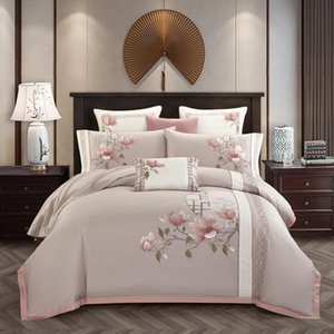 4PCS 럭셔리 이집트 코튼 클래식 침구 세트 퀸 킹 사이즈 세련된 자수 침대 세트 침대 시트 세트 베개 Parrure 드 점등
