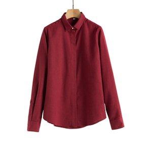 봄 가을 여성 플란넬 셔츠 코튼 두꺼운 단단한 긴 소매 느슨한 편안한 블라우스 사무실 숙녀 바닥 셔츠 탑스