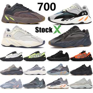 700 corridore dell'onda riflettente Kanye Mens scarpe da corsa Phosphor Bone Arancio Statico analogico Salt Carbon Teal Blu Trainger sport con la scatola