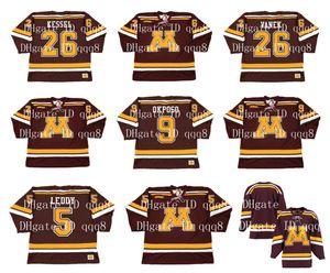Винтаж Миннесота суслики Джерси 26 Томас Ванек 26 Фил Кессел 9 Кайл Окпосо 5 Ник Ледди обычай любое имя номер NCAA хоккейные майки