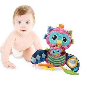 Sonajeros Cama búho de juguete de felpa de múltiples funciones del bebé los juguetes suaves de algodón de coches colgantes búho juguetes de peluche para bebé del cochecito de niño del cochecito 0-12 recién nacido