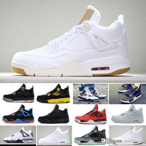 Basketball shoes Chaussure de basket-ball 4S Black Cat Fire Red 4 Pure Money CAVS Militaire Bleu Vert Lueur élevé Raptors Alternate Fashion Sneakers Chaussures de Sport