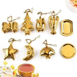 Teaware الفولاذ المقاوم للصدأ الشاي تصفية شل على شكل نجمة شاي مصفاة الذهب اللون الشاي المساعد على التحلل مطبخ تصفية أداة ZZA1833