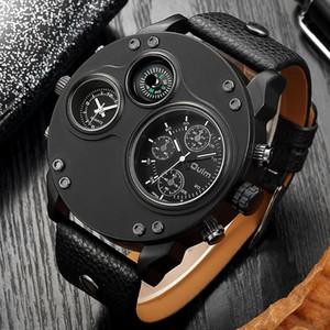 Oulm Fashion Men's Watches Black Leather Dual Time Zone Wristwatch Male Quartz Big Size Watch Relogios Masculino