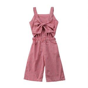 Emmababy Romper Criança infantil Baby Girl Red Plaid Romper Calças Macacão Roupa Outfits 1-6T