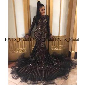 2020 Glitter vestidos de baile africanos para Negro Manga Larga sirena de lentejuelas largo del cordón de baile vestido formal 2K20 Vestido de festa