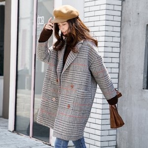 long dress cloth coat whom South Korea checked the spring and autumn period and the woolen cloth coat type cocoon