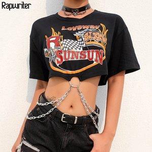 Rapwriter Casual Letter Print Chain Patchwork Loose Crop Top Women 2020 High Street Summer O-Neck Half Sleeve Short T-Shirt