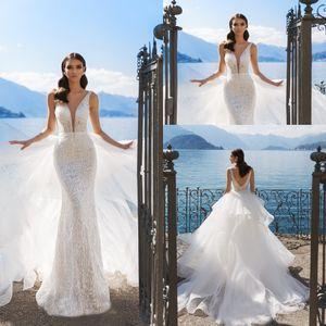 2020 Abiti da sposa di overskirt con treno staccabile Pizzo Appliqued Sequins Sweep Treno Beach Robes de Mariée Abiti da sposa da sposa personalizzati