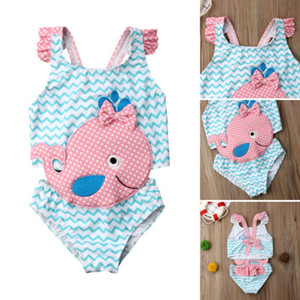 Lovely Baby Girls Traje de baño de una pieza Niños Niñas Ruffles 3D Cartoon Goldfish Swimsuit 2019 Summer Children Beachwear Traje de baño