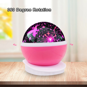 Starry Sky Unicorn Changeable LED Projector Night Light For Children Table Desk Warm Lamp Colorful Rotated Projection Baby Kids Lighting