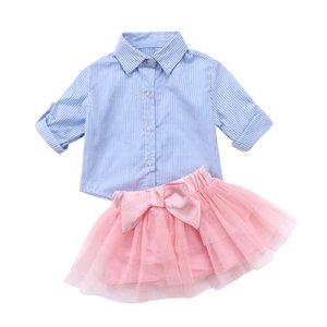 فتيات أزياء حديثات الولادة ... ... ملابس مخططة ... ... قمصان زرقاء ... ... تنورة قوس Tutu ... ... 2pcs Set Princess Child Party Cost