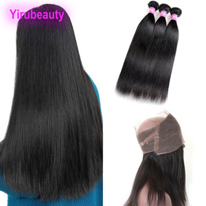 Peruvian 3 Bundles With 360 Lace Frontal Straight Hair Silky Bundles With Human Hair Wefts With Closure