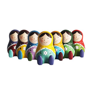 Zakka Style 4.5 inch Height Russian Dolls Piggy Bank Polyresin Russia Matryoshka Nesting Doll Coin Bank Charity Gifts