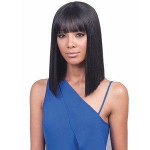 the hairstyle brazilian hair African Ameri Simulation Human Hair shoulder length Silky Straight full Wig with bangs