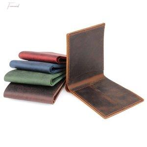 100 % 정품 가죽 남성 지갑 크레이지 호스 가죽 Bifold 지갑 Carteira Masculina 클러치 동전 지갑 지갑