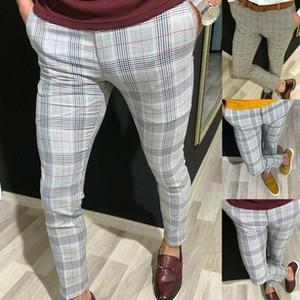 Pantalones de cuadros de los hombres pantalones pantalones de vestir de oficina de negocios formales