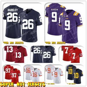5-24 NCAA 26 Saquon Barkley 9 Joe Burrow LSU Tigers College Football Jersey Teddy Bridgewater Luca Kuechly Christian McCaffrey