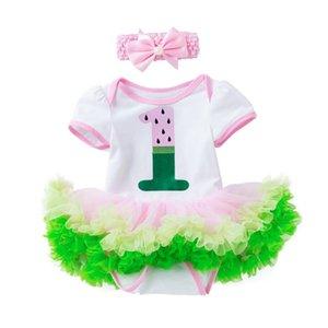 4pcs T-shirt d'impression Jupe Set New Born Baby Girls Romper Tenues nourrisson fille Princesse tout-petits enfants Vêtements Cadeaux Birthday Suit