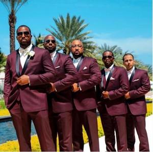 2020 Burgunder Herren-Anzüge für schwarze Männer Trauung Schal Revers Bräutigam Smoking Großen Groomsmen Suits (Jacket + Pants + Bow) AL2404