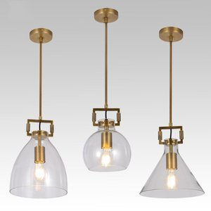 Modern metal do ouro Clear Glass Pendant Light Chandelier Sala Lamp Decoração PA0563