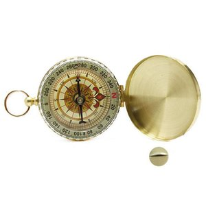 Pure copper clamshell compass with luminous pocket watch compass portable outdoor multi-function metal measuring ruler tool 1016