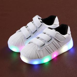 키즈 귀여운 신발 빛 2017 가을 새로운 Led 패션 소년 소녀 실행 스 니 커 즈 가죽 비 슬립 어린이 신발 Y190525