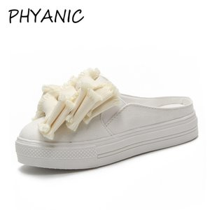 PHYANIC 2018 Sommer Neue Frauen Casual Slides Mules Low Heels Samt Quaste Solid Flock Mules Hausschuhe Schuhe Frau PHY3241