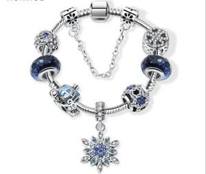 Encanto de los granos aptos para la joyería de plata pandora 925 pulseras del copo de nieve colgante brazalete cielo azul carro de la calabaza encantos de la joyería de DIY con la caja de regalo