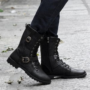 Hot Sale-Popular Motocycle Boots Men's Autumn And Winter High Boots Fashion High Round Top