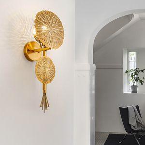 Современный Медный лист Бра Villa Hotel Bedroom Gold Wall Бра Light Home Living Room WA141