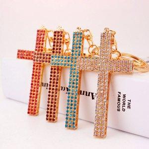 기독교 선물 창조적 인 귀여운 자동차 펜던트 열쇠 고리 전체 다이아몬드 십자가 열쇠 고리 가방 (40)