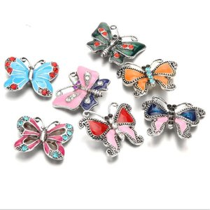 NOOSA Snap Rhinestone Botones a Presión de aceite pintura de la mariposa de 18 mm encajen botón de pulsera, collar regalo de la joyería