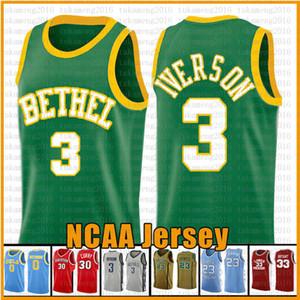 Bleu Université 3 Iverson NCAA Basketball Jersey Arizona State Bethel Irish lycée Jerseys 23 James 2 Leonard 3 Wade 11 Irving 30 Curry