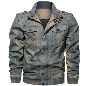 Jacket Plus Size Hombres Turn Down Collar Autumn Spring Winter Jackets Coats Mens Washed Denim