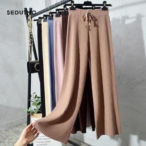 SEDUTMO Printemps taille haute Pantalon large jambe Femmes en tricot Pantalon en vrac Pantalon Vintage Casual Streetwear Noir Sweatpants ED604
