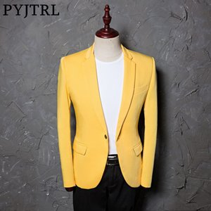 PYJTRL Mens Classic Yellow Suit Jacket Fashion Casual Blazer Designs Costume Homme Stage Clothes For Singers