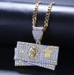 Hip-hop men's jewelry two-color electroplated micro-inlaid zircon US dollar bill pendant