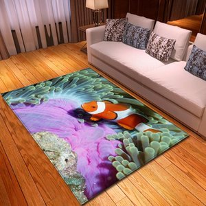 Nordic 3D Carpet Flannel Memory Foam Soft Area Rugs Bedroom Mats Floor Rugs Ornamental Fish Coral Carpets for Living Room